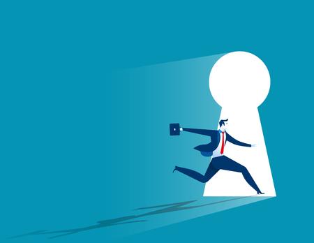Businessman running to large keyhole. Concept business illustration