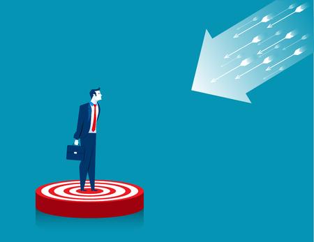 Businessman standing on target. Concept business illustration. Vector