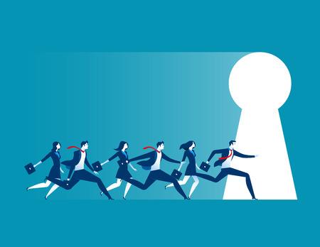 Businesspeople running to large keyhole. Concept business illustration Illustration
