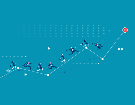 Illustration of business people racing up arrow towards target. Concept business vector