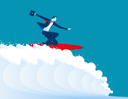 conquering adversity: illustration of businessmen surfing. Concept business. Vector Illustration