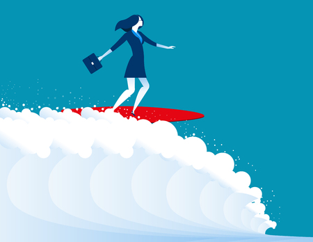 conquering adversity: illustration of businesswomen surfing. Concept business. Vector