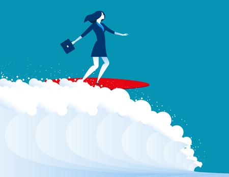 illustration of businesswomen surfing. Concept business. Vector