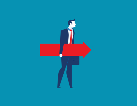 Businessman holding the red arrow. Concept business illustration. Vector