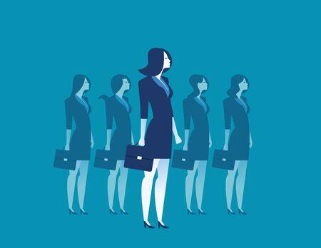 Businesswoman leadership standing. Concept business illustration. Vector Illustration