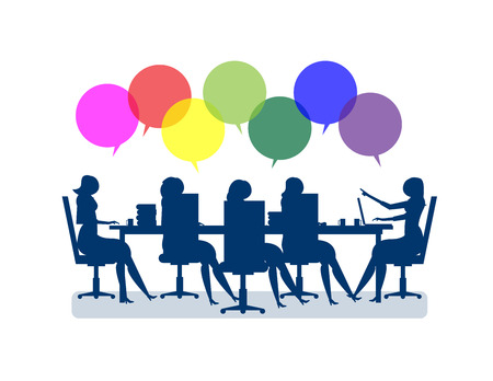 Business people brainstorming. Concept business illustration, businesswomen meeting for marketing deals to sucess. Vector flat