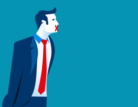 Businessman with sticking plaster his mouth, Freedom of speech. Concept business illustration. Vector flat
