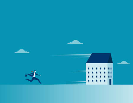 Businessman chasing a running house. Concept business symbol illustration. Vector cartoon character and abstract flat Illustration