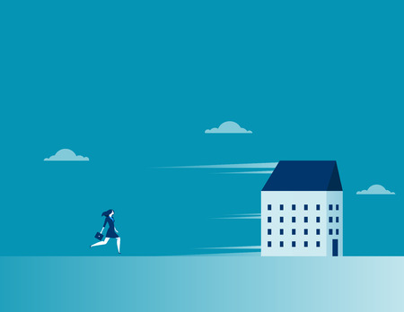 Businesswoman chasing a running house. Concept business symbol illustration. Vector cartoon character and abstract flat