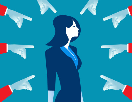 People accusatory fingers pointed at businesswoman. Concept business team illustration. Vector cartoon character flat Illustration