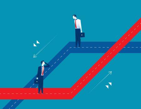 Dos hombres de pie diferentes caminos de negocios. Ilustración de éxito empresarial de concepto. Personaje de dibujos animados de vector y plano abstracto