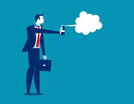 A businessman disinfecting. Concept business illustration. Vector flat. Illustration