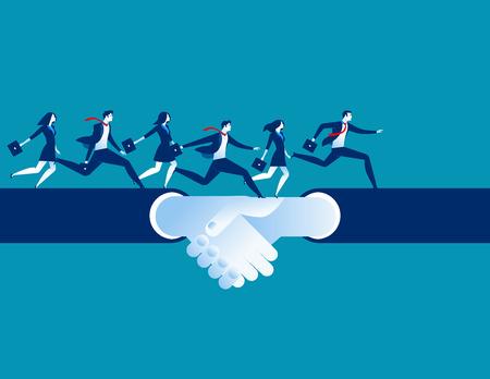 Acuerdo y apretón de manos. La gente de negocios que se ejecuta en una mano sacude. Ilustración de éxito empresarial de concepto. Personaje de dibujos animados de vector