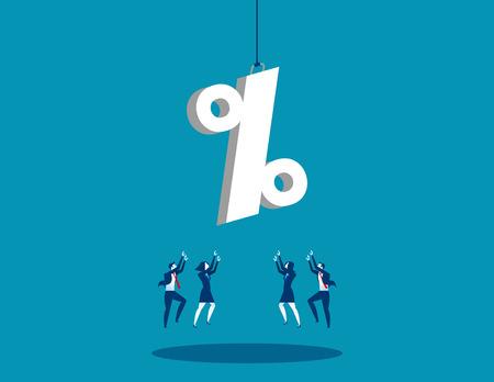 Une équipe d'affaires atteignant pour signe de pourcentage. Illustration de succès commercial concept. Vecteur plat. Banque d'images - 84893380