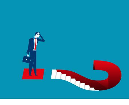 Businessman and question marks. Concept business illustration. Vector flat. Illustration