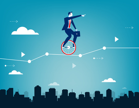 Businessman balancing on unicycle and drive through business chart. Concept business success illustration. Vector business.