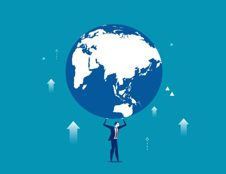 A businessman is holding up globe. Concept business illustration. Vector business metaphor flat.   Illustration
