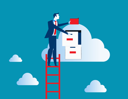 Businessman standing  on ladder and putting file. Concept business data illustration. Vector cartoon character