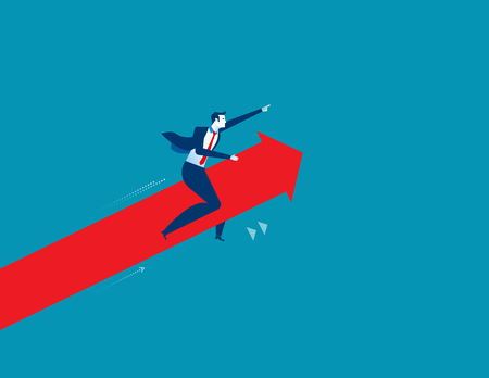 accomplish: Businessman pointing and driving arrow upward. Concept success business illustration. Vector cartoon character and abstract