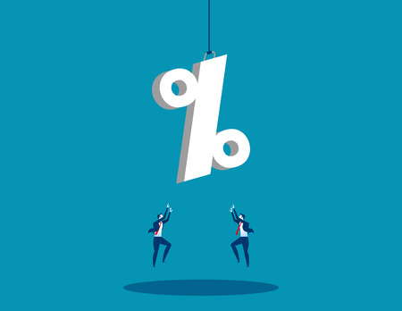 A businessman reaching for percentage sign. Concept business success illustration. Vector flat.
