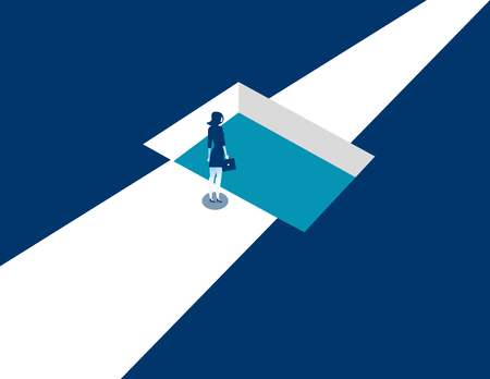 Businesswoman standing by shaped hole in road. Concept business illustration. Vector business abstract.