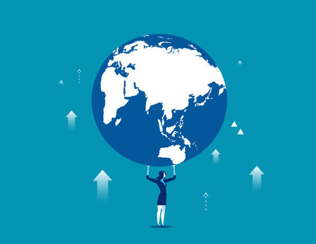A businesswoman is holding up globe. Concept business illustration. Vector business metaphor flat.