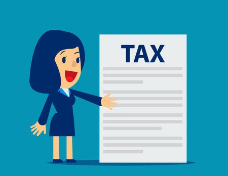 Businesswoman is showing tax. Concept business tax illustration. Vector flat. Illustration