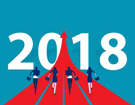 Business people running to 2018. Concept business success vector illustration. Flat design style. Vectores