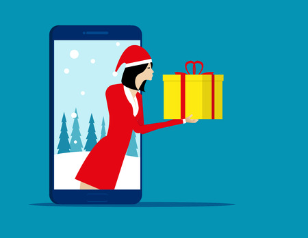 Santa Claus and technology. Concept holiday and christmas vector illustration. Character flat.   Illustration