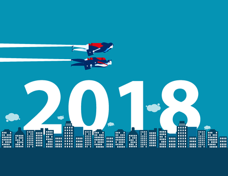 Happy new year. Business competition and direction for 2018. Concept business vector illustration.  イラスト・ベクター素材