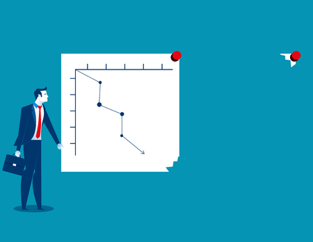 Businessman turning graph to change analysis, The direction of the economy. Concept business direction illustration. Vector cartoon character and abstract Ilustrace