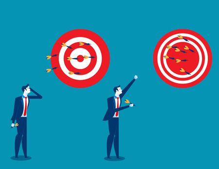 Businessman throwing darts at dart board. Concept business success illustration. Vector cartoon character and abstract