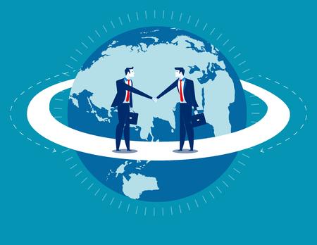 Global business. Businessmen greet man. Concept business communication.