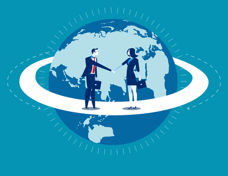 Global business. Businessperson greet. Concept business communication.