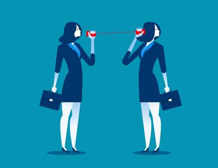 Zakenvrouw communiceren via blikjes. Concept zakelijke communicatie. Vector plat.