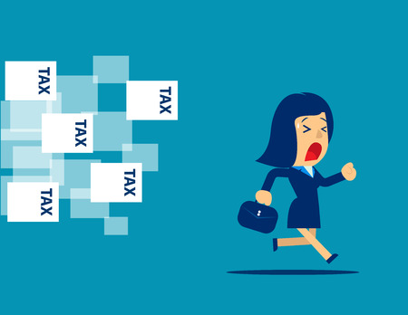 Businesswoman running away from tax. Concept business illustration. Vector flat.