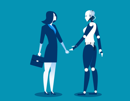 Human vs robot,Businesswoman standing with robot. Concept business automation future illustration. Vector cartoon character and abstract Illustration