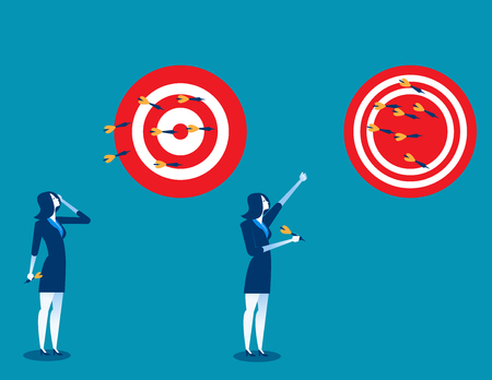 Businesswoman throwing darts at dart board. Concept business success illustration. Vector cartoon character and abstract