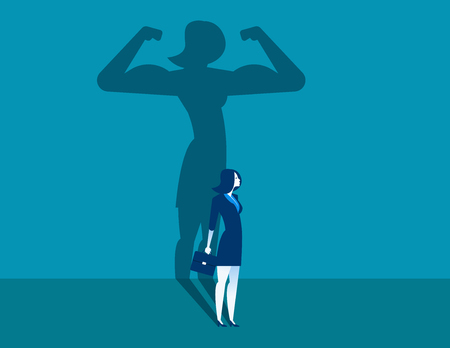 Businesswoman with a shadow and career strength. Concept business illustration. Vector character and abstract. Ilustração