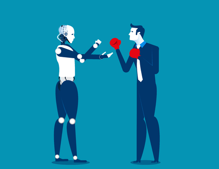Human and robot fighting. Concept business technology illustration. Vector cartoon character and abstract Illustration