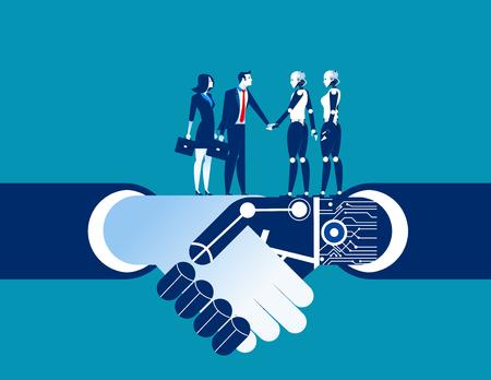 Human vs robot serrer la main. Illustration de l'automatisation des affaires concept. Robot de vecteur plat.