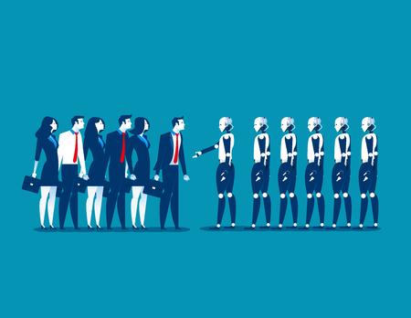 인간 대 로봇, 기업인 로봇 함께 서입니다. 개념 비즈니스 자동화 미래 그림입니다. 벡터 만화 캐릭터와 개요입니다.