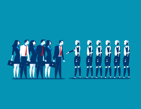 Human vs robot,Businesspeople standing with robot. Concept business automation future illustration. Vector cartoon character and abstract.