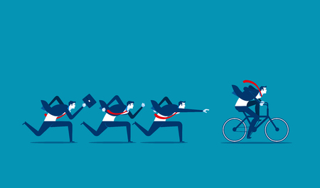 Overcome and achieve success. Concept business person illustration. Vector competition.