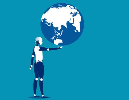 A robot holding globe. Concept business automation illustration. Vector robot flat. Illustration