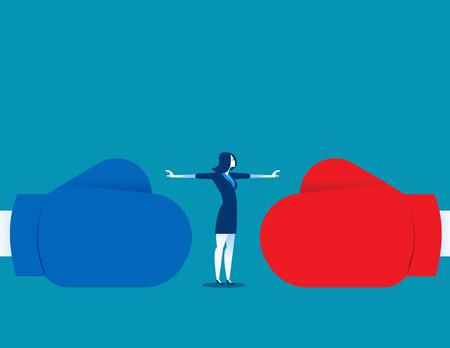 Vrouw stop conflict of stop met vechten. Concept zakelijke illustratie. Vector abstract en karakter. Stock Illustratie