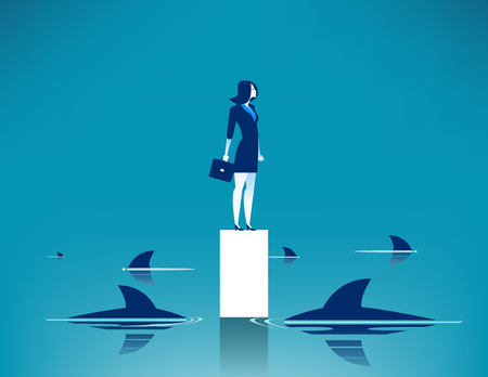 Surrounded shark. Concept business illustration. Vector cartoon character.