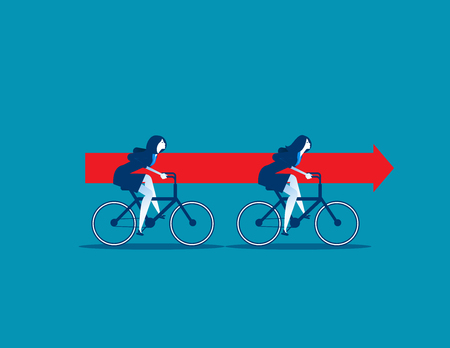 Businesswomen riding bikes and carrying red arrow. concept business vector.
