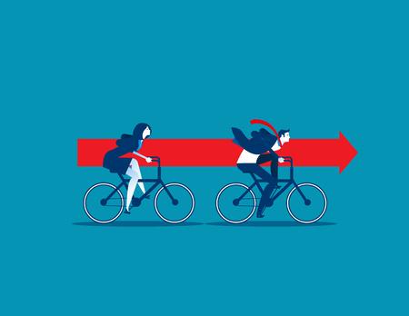 Business team équitation vélos et portant la flèche rouge. concept de travail d & # 39 ; équipe vecteur Banque d'images - 96078864