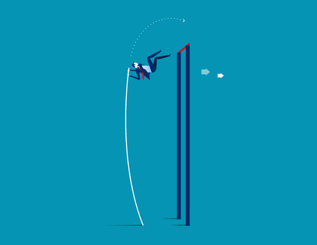 Pole vaulter. Business jumping over rising. Concept business success vector.
